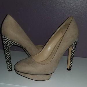 Zara Beige Fabric High Platform Court Shoes Size 7